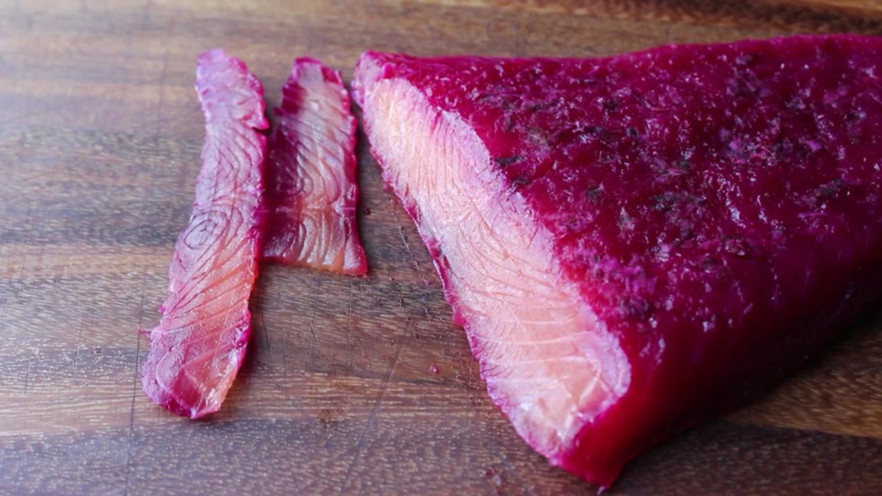 beet cured salmon gravlax video