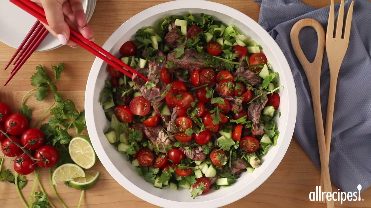 thai beef salad video