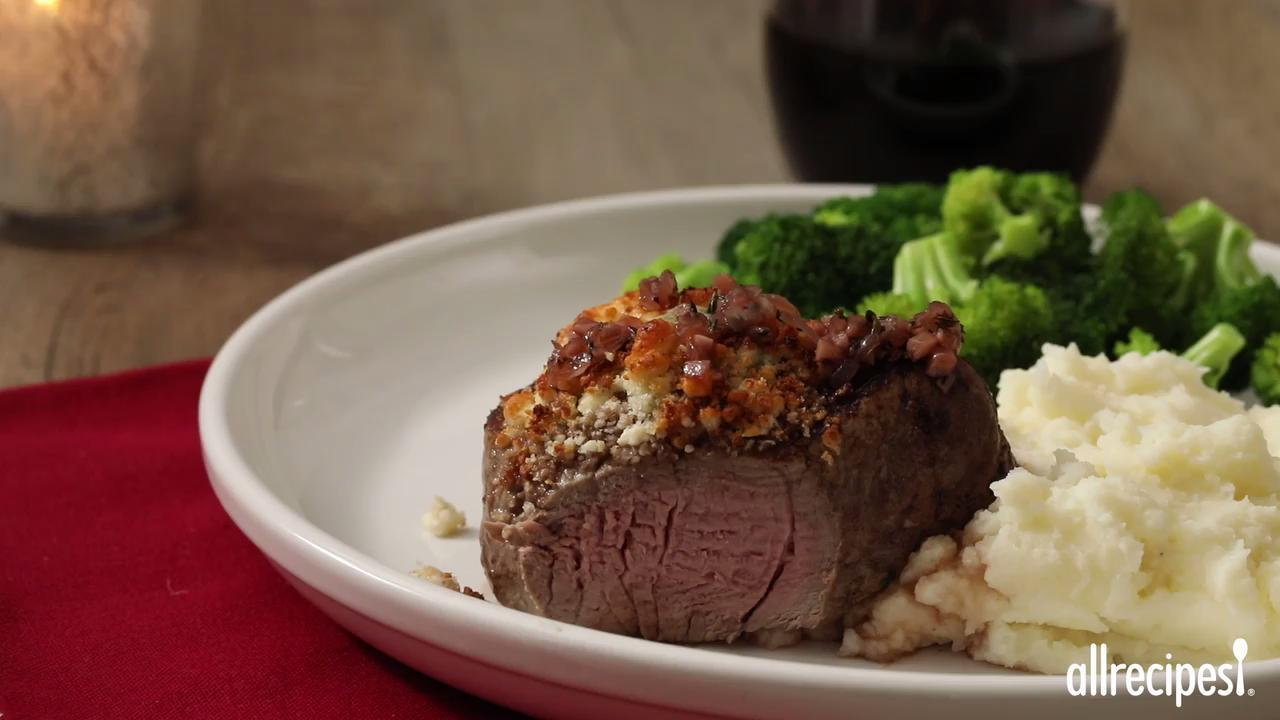 blue cheese crusted filet mignon with port wine sauce video