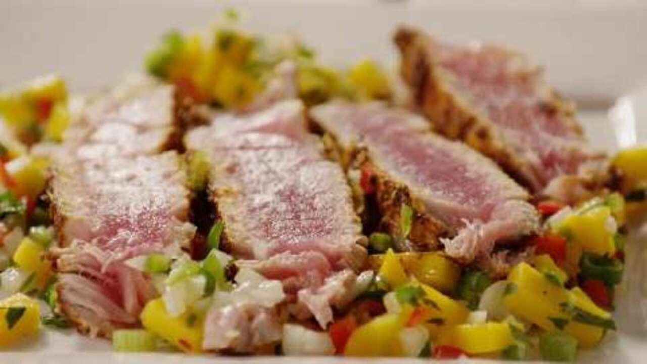 blackened tuna steaks with mango salsa video