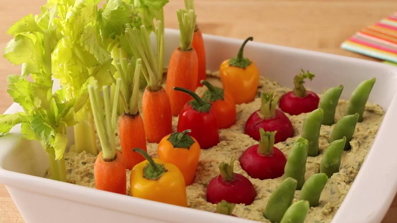 spring herb hummus vegetable garden video