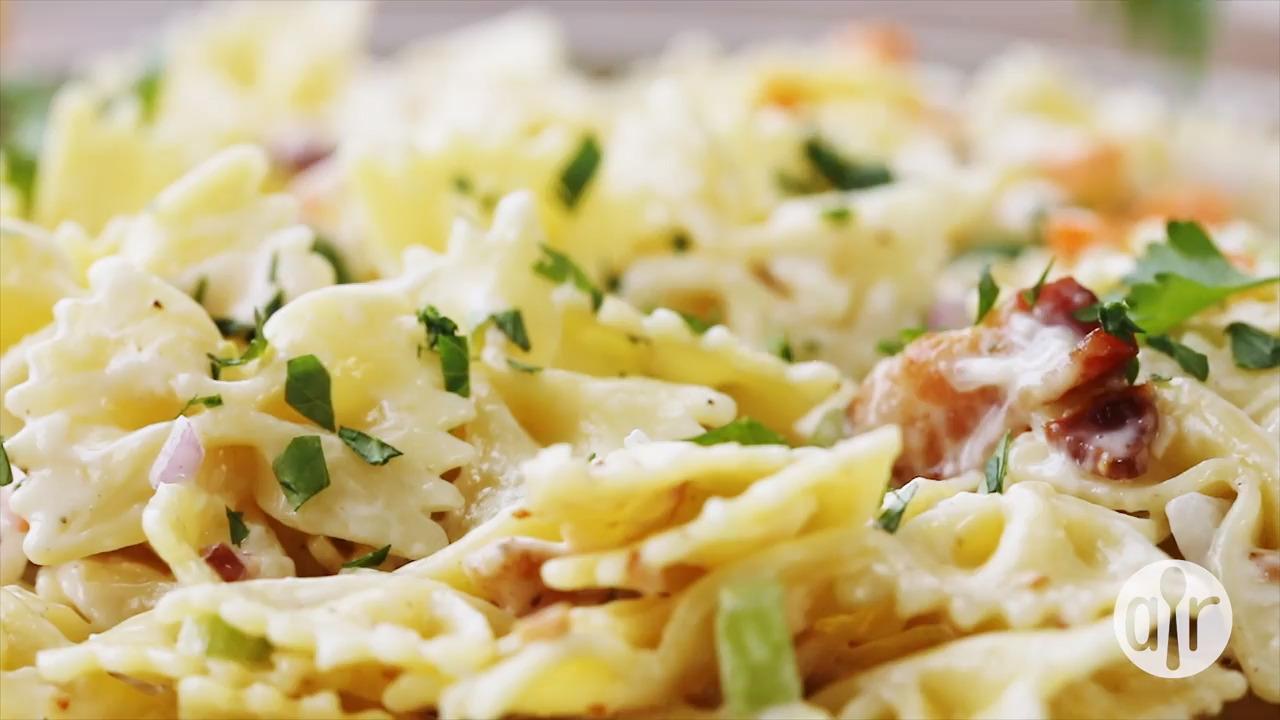 ranch bacon and parmesan pasta salad video