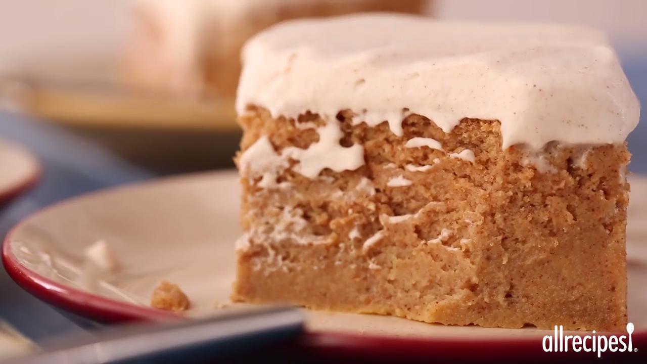 pumpkin magic cake with maple cinnamon whipped cream video