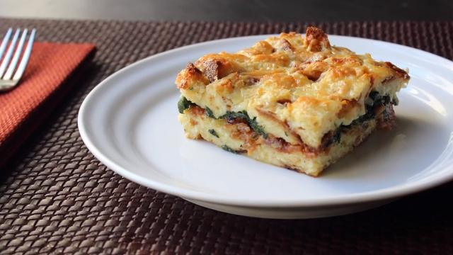 chef johns bacon cheddar and spinach strata video