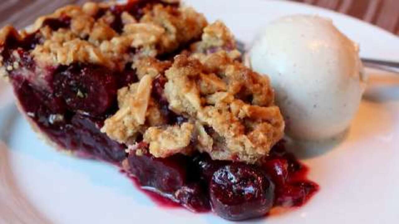 cherry pie with almond crumb topping video