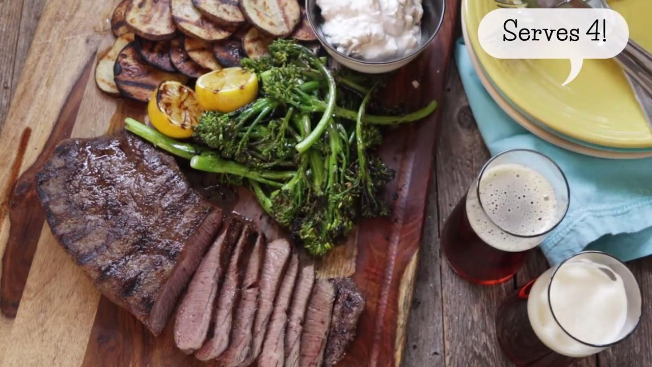 grilled steak with blue cheese potatoes and broccolini video