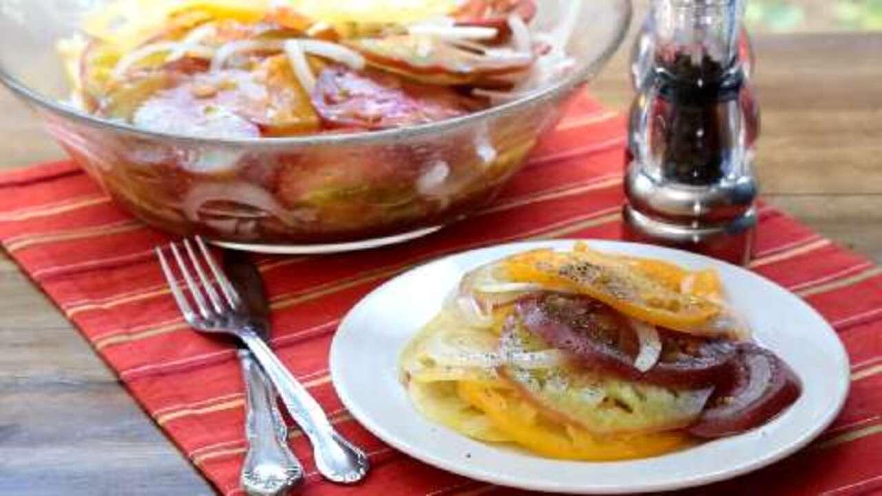 chrissys sweet n sour tomato salad video