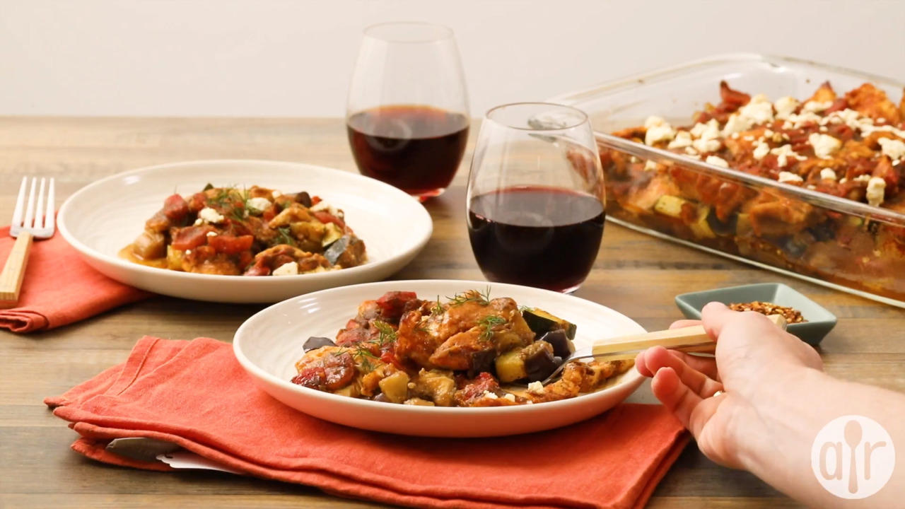 mediterranean chicken with eggplant and feta video