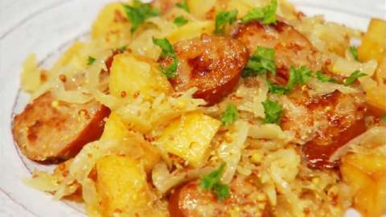 smoked sausage with potatoes sauerkraut video