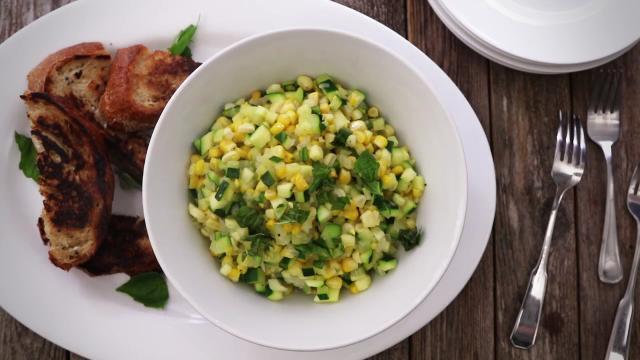 fresh corn and zucchini saute video