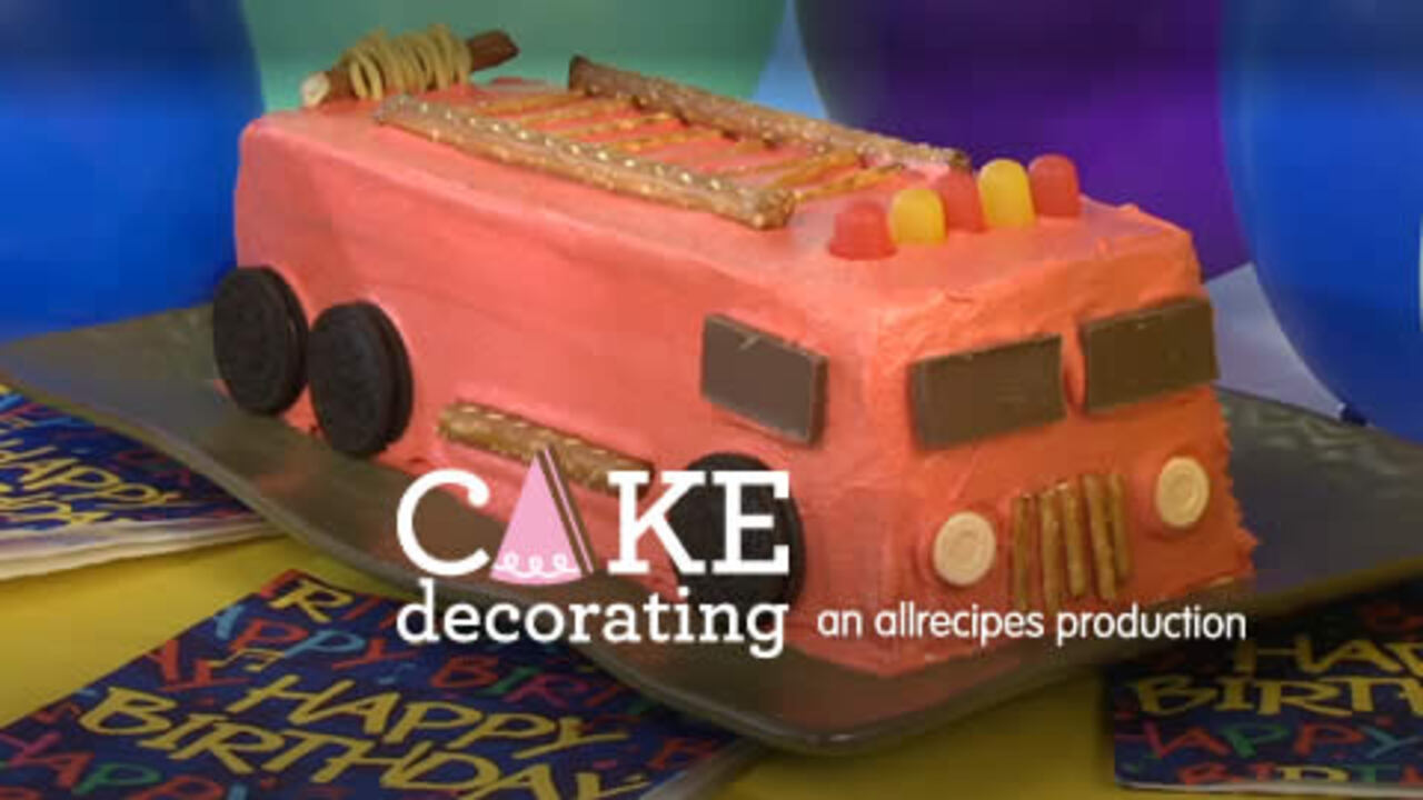 Amazing How To Make A Fire Engine Cake Video Allrecipes Com Personalised Birthday Cards Arneslily Jamesorg
