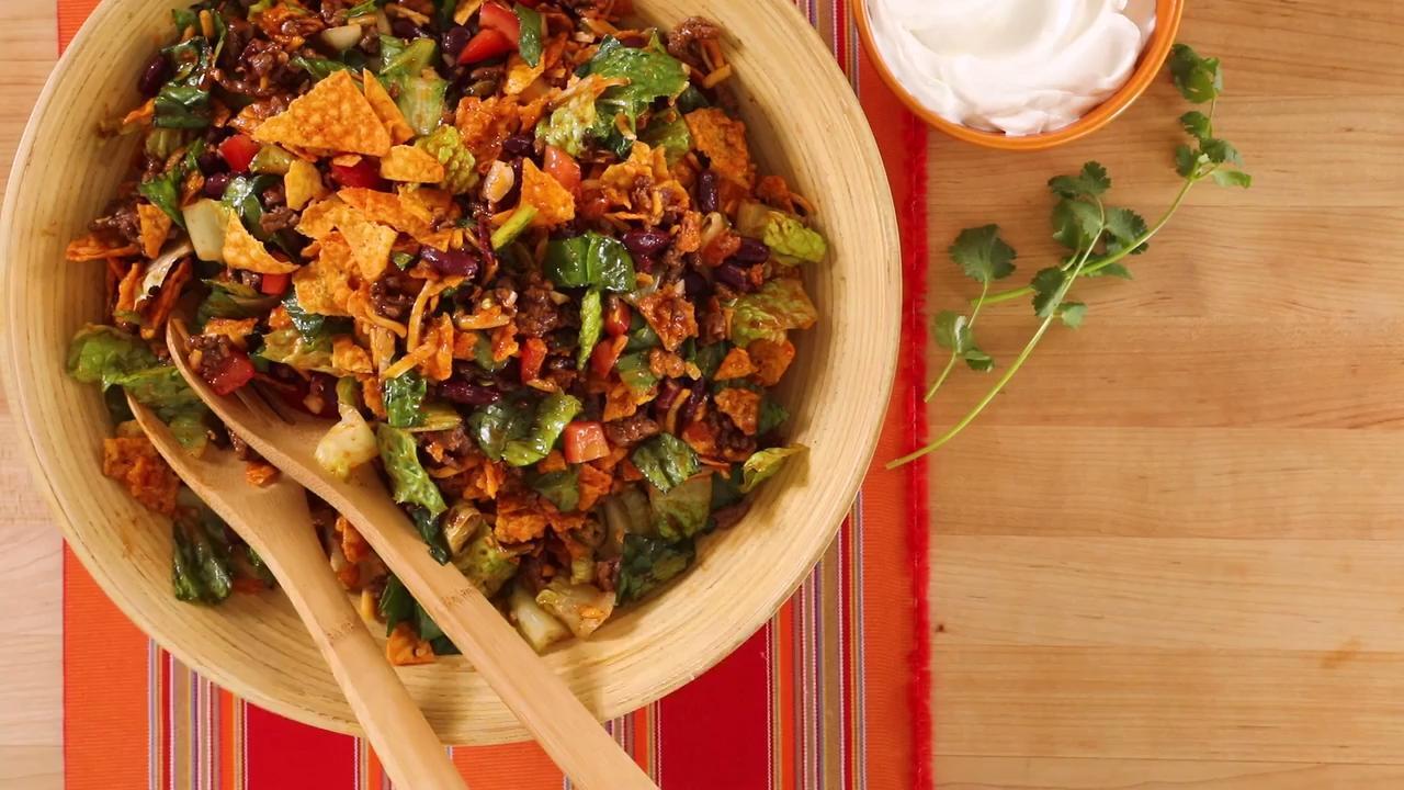 spicy dorito taco salad video