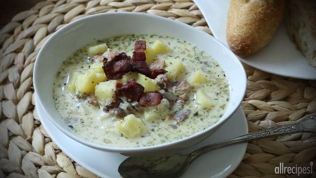 very easy potato bacon soup video