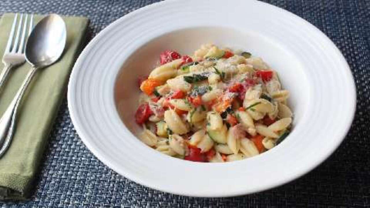 summer vegetable cavatelli with fresh corn cream video