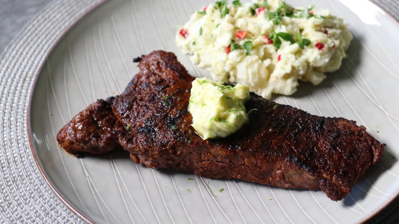 grilled chili steak with garlic lime butter video