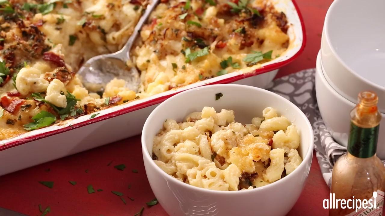 macaroni and cheese with caramelized onions and bacon video