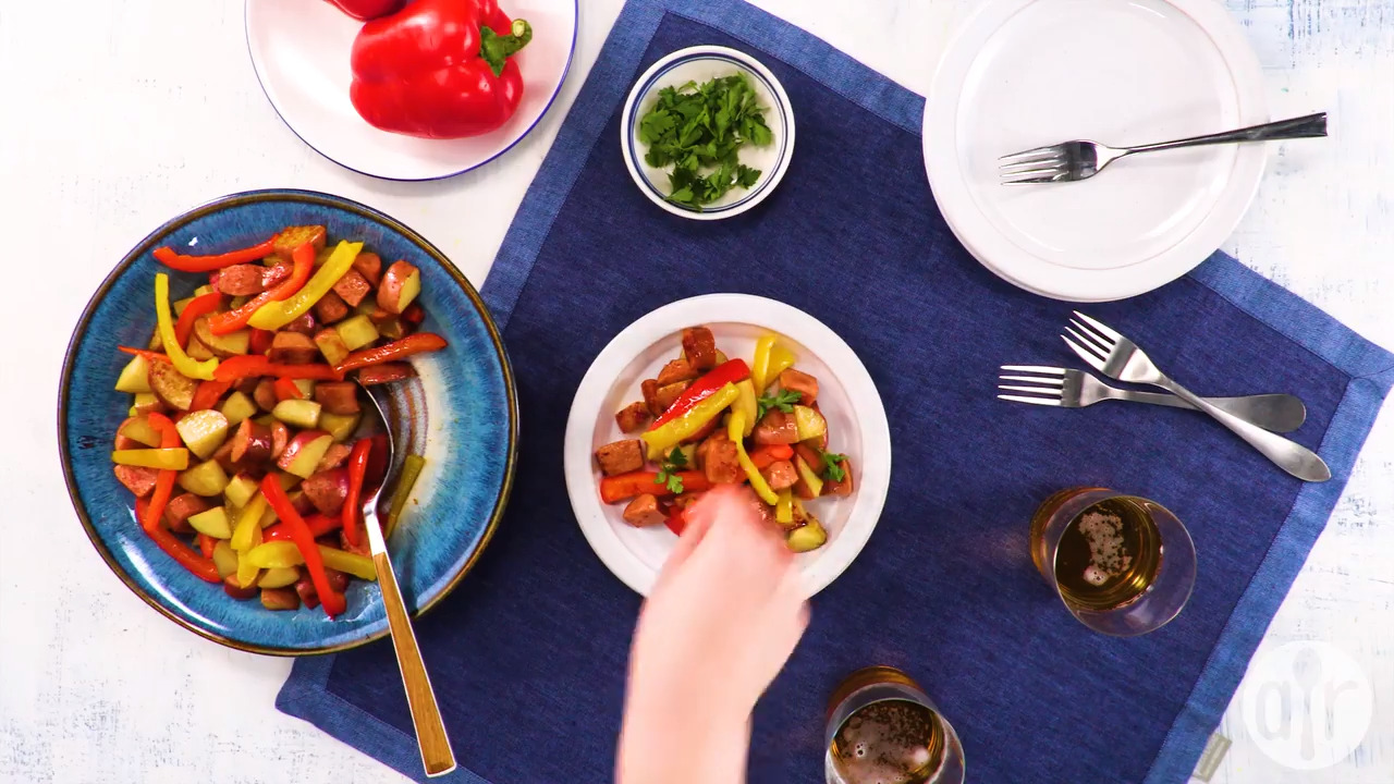 kielbasa with peppers and potatoes video
