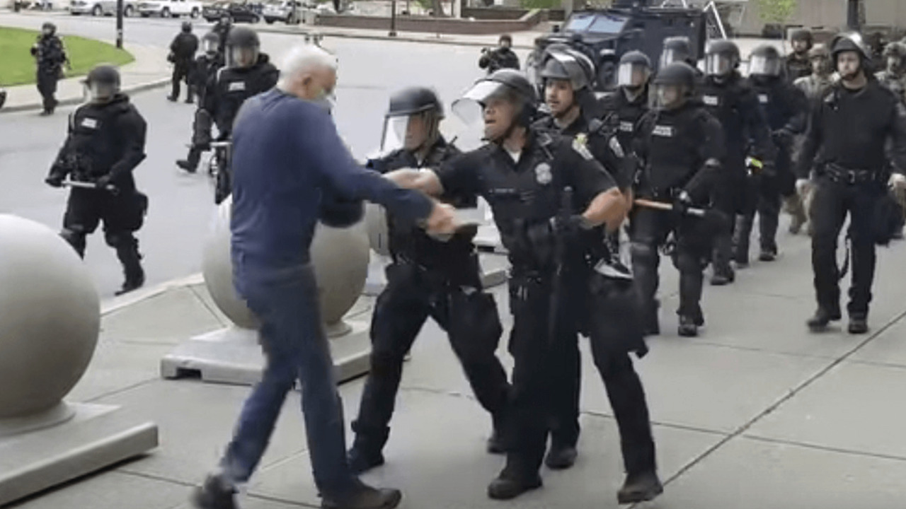 Elderly man pushed by police at protest in Buffalo, NY