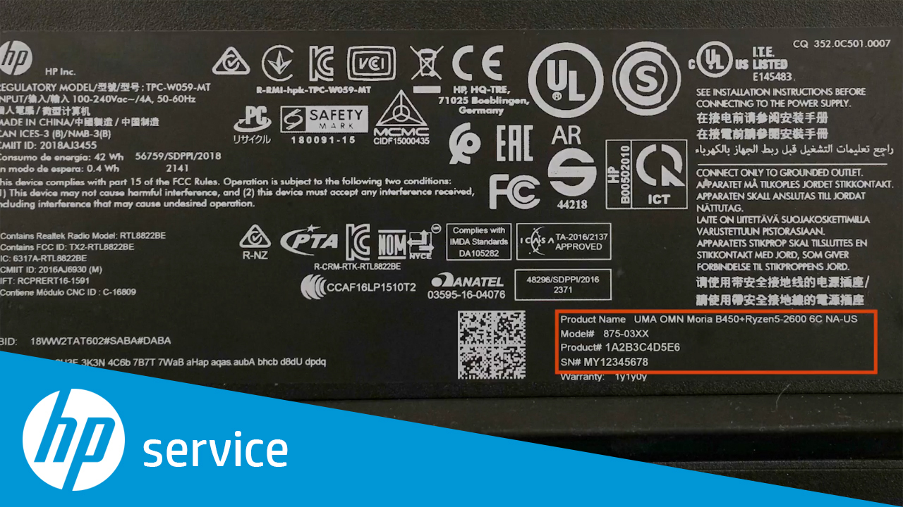 how to find your hp desktop model name  product number  or