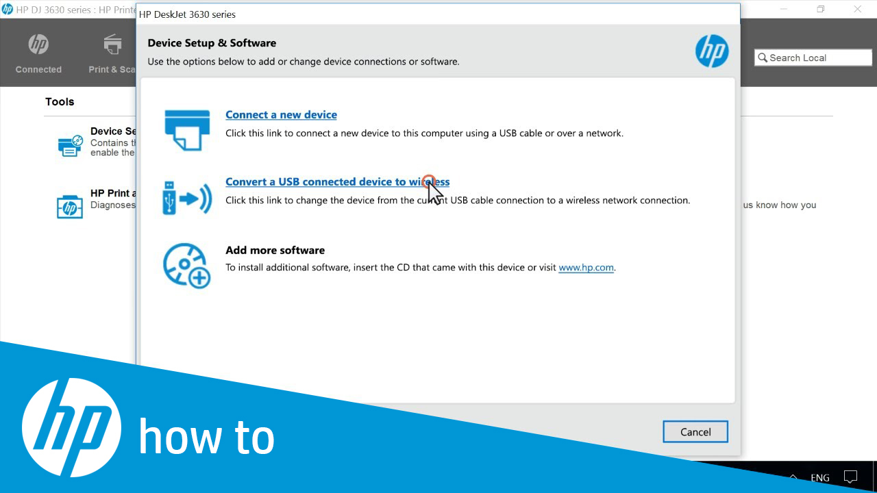 Converting an HP Printer from a USB to a Wireless Connection in Windows