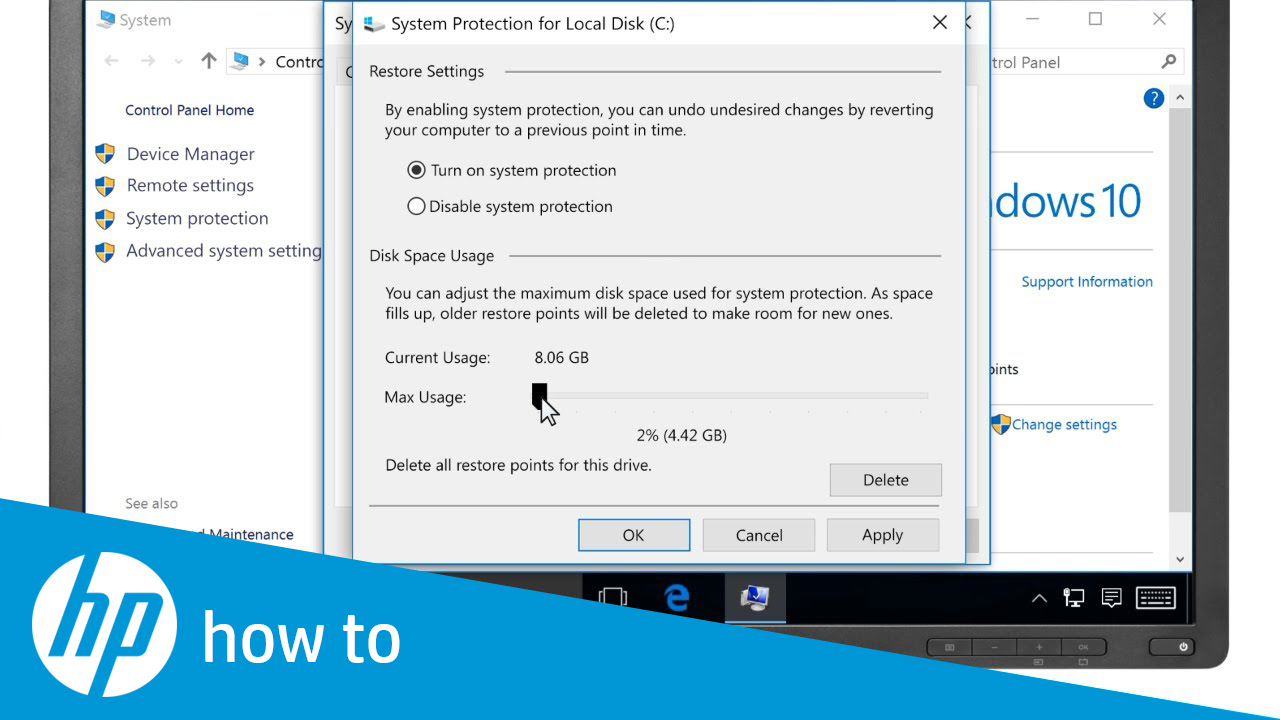 Adjusting System Restore Settings to Free Hard Drive Space in Windows