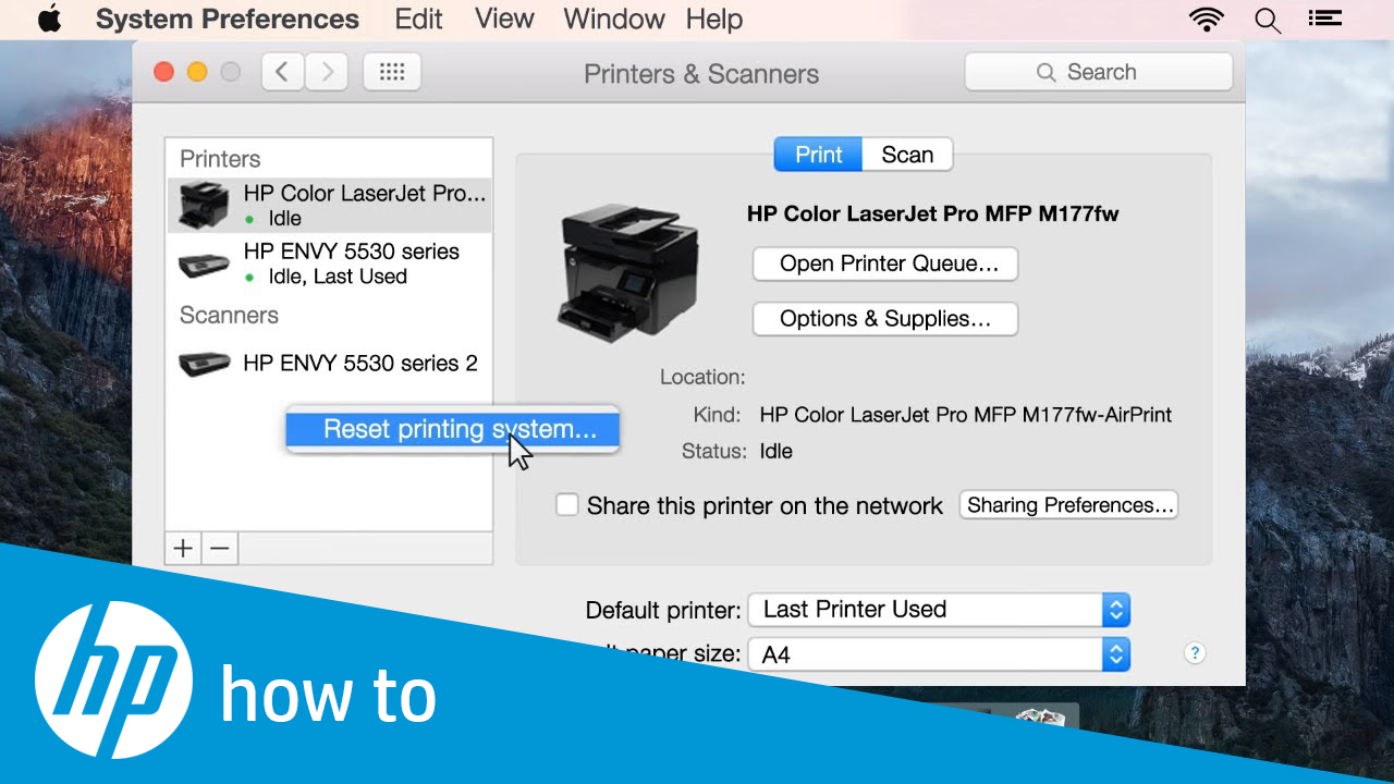 Resetting the Printing System in Mac OS X
