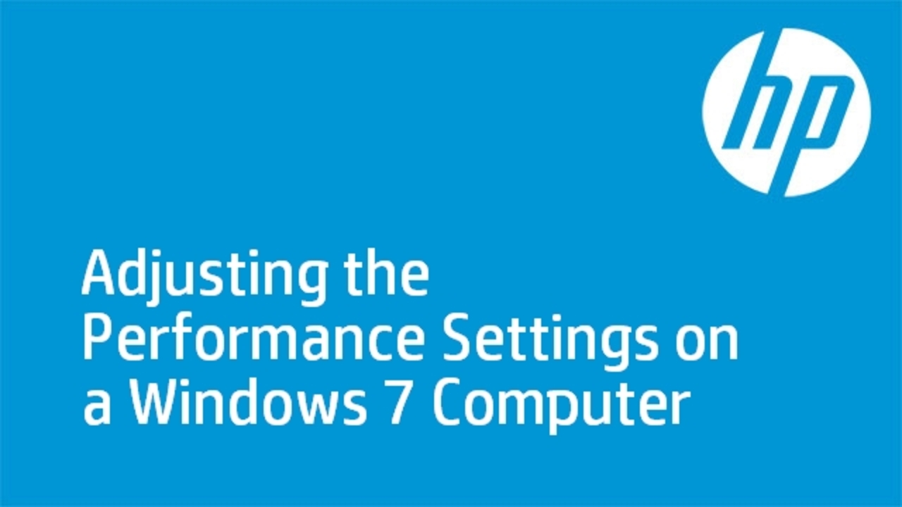 Adjusting the Performance Settings on a Windows 7 Computer