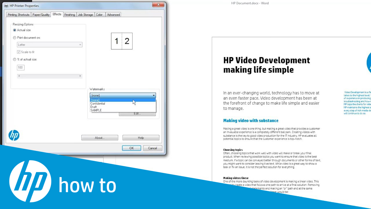 Creating Watermarks When Printing on HP LaserJet Printers
