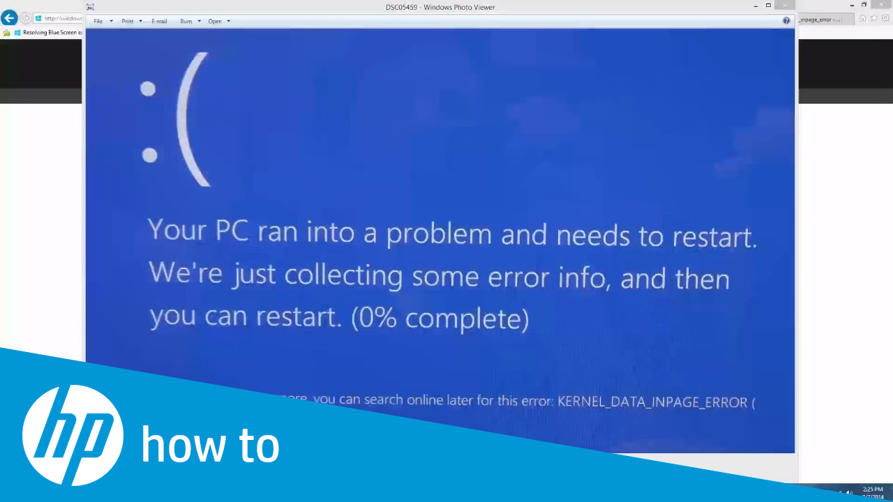 Resolving Blue Screen Errors In Windows 7 And 8 Hp Support Video Gallery