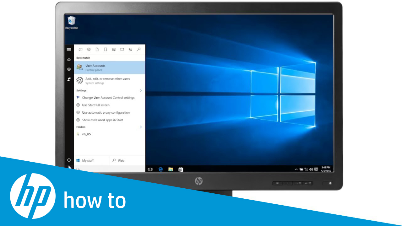 how to change password on hp computer windows 10