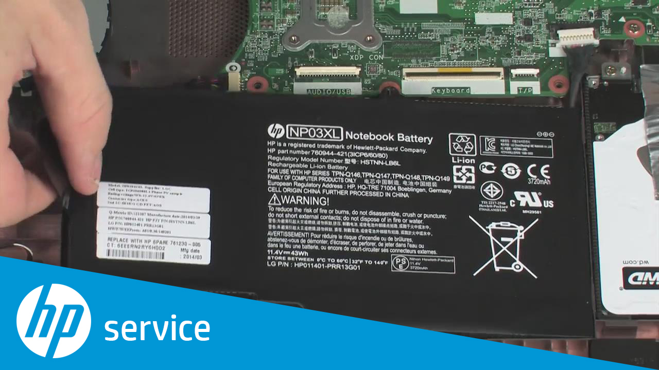 Removing and Replacing the Battery for HP ENVY 15-u000 x360 Convertible PCs