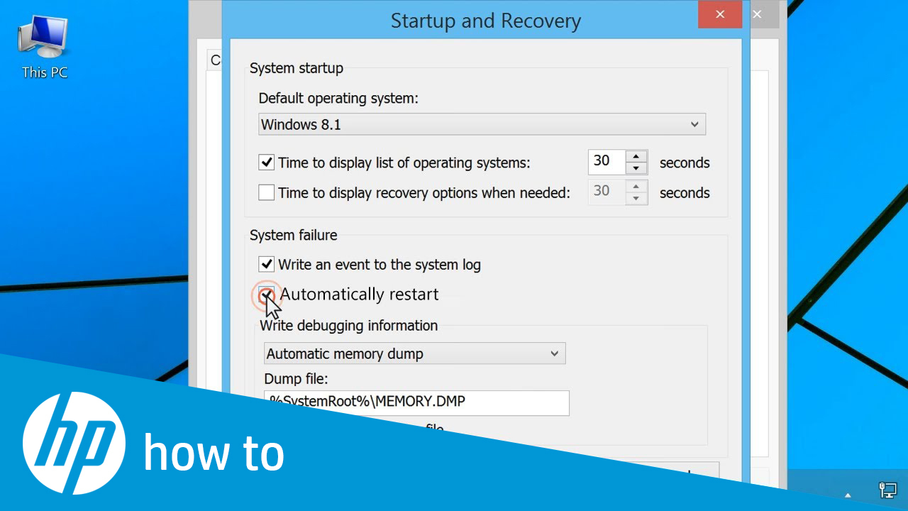 Disabling Automatic Restart to View Error Messages in Windows 8 and 7