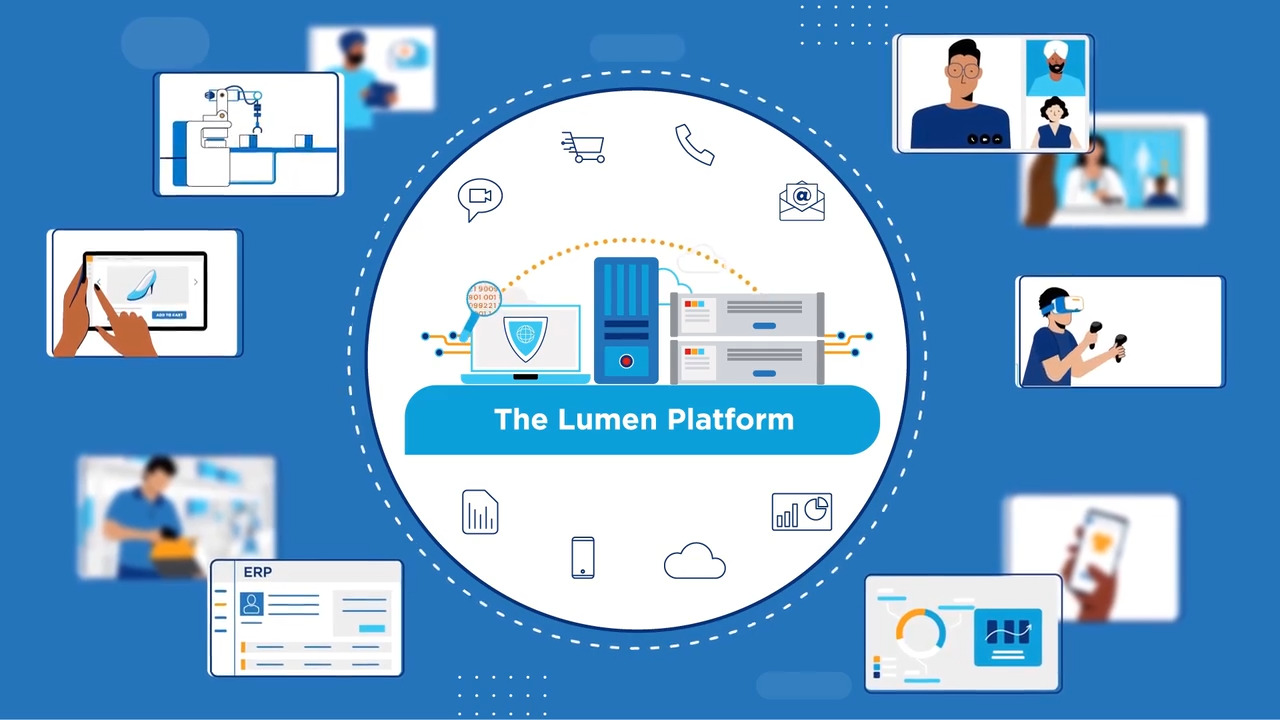 Catrtoon rendering of the Lumen platform surrounded by other cartoon depictions of video chatting, vr gaming, shopping and more
