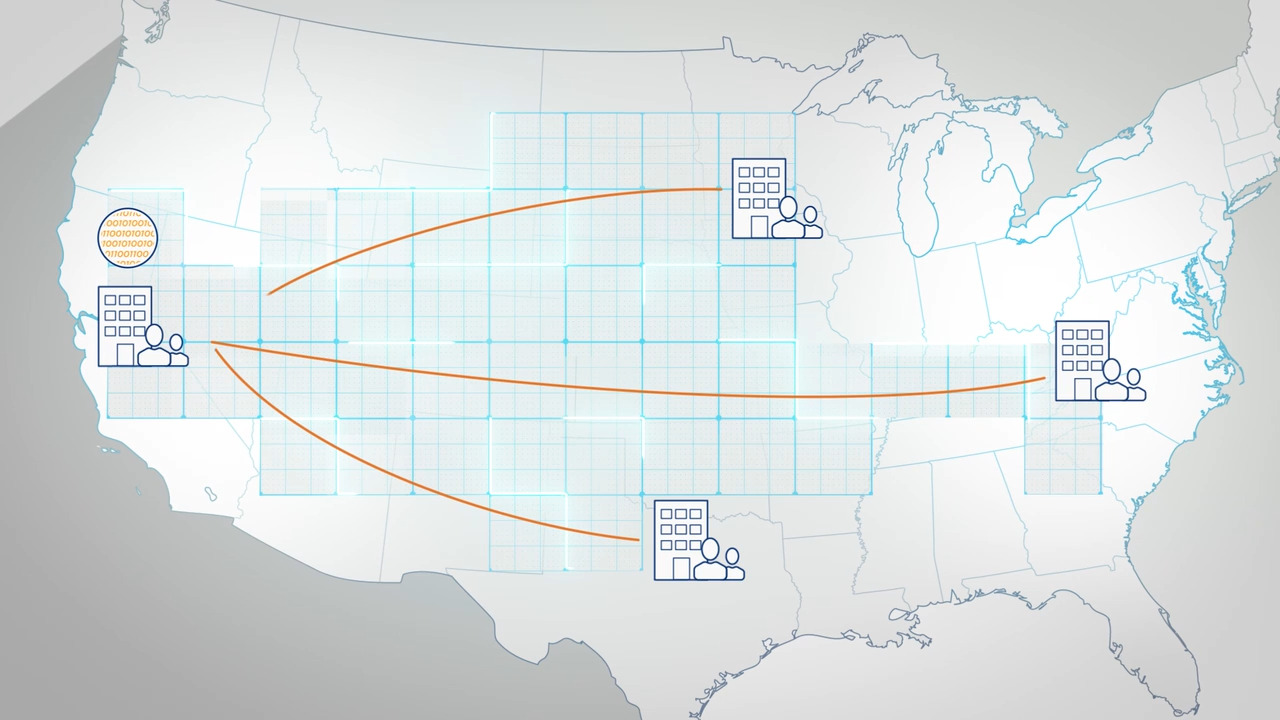 Illustration of US map with building icons connected by orange lines