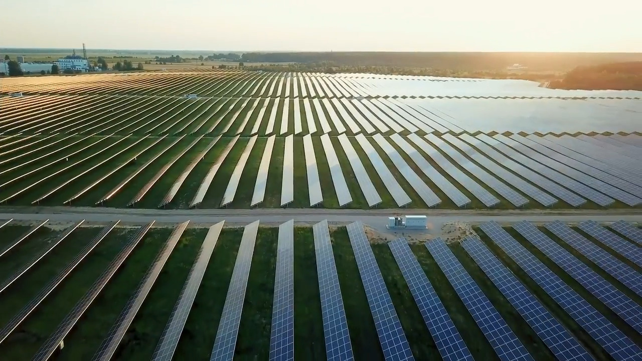 Overhead view of a field full of solar panels