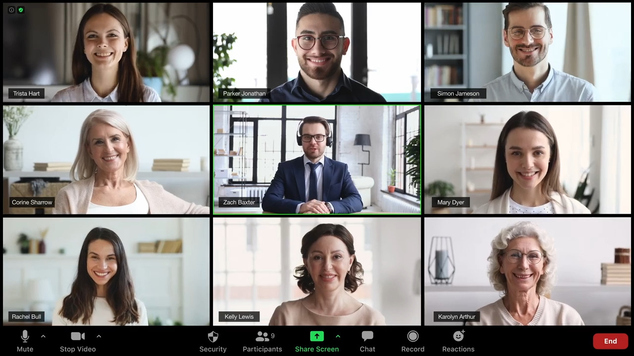 Close up image of a video chat between nine people