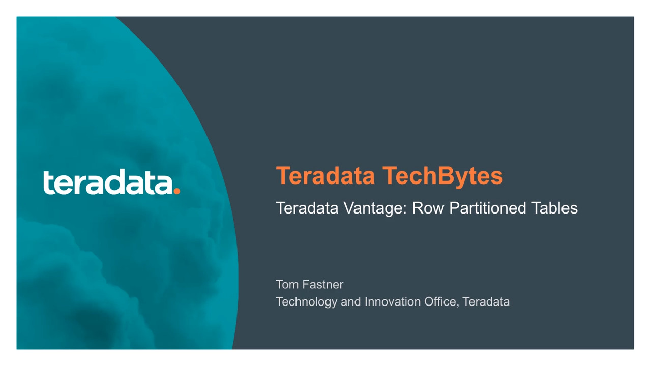 Teradata Vantage row-based tables video