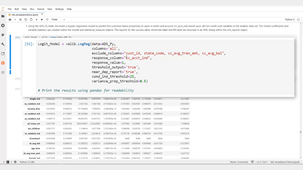 demo video of predictive modeling using analytics library and python