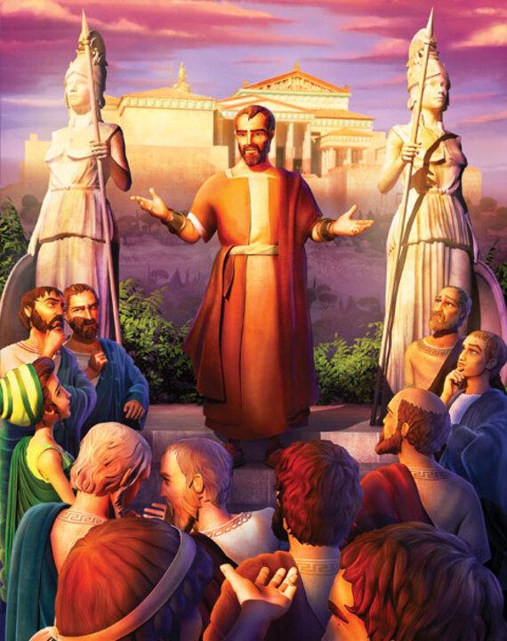Superlibro lleva a Luis, Anita, y Tuercas a un emocionante viaje por el tiempo de dos partes. Comienzan con un viaje a Atenas, donde Pablo reta a la gente que cree en muchos dioses. Los niños aprenden cómo hablarles a otros del verdadero Dios.