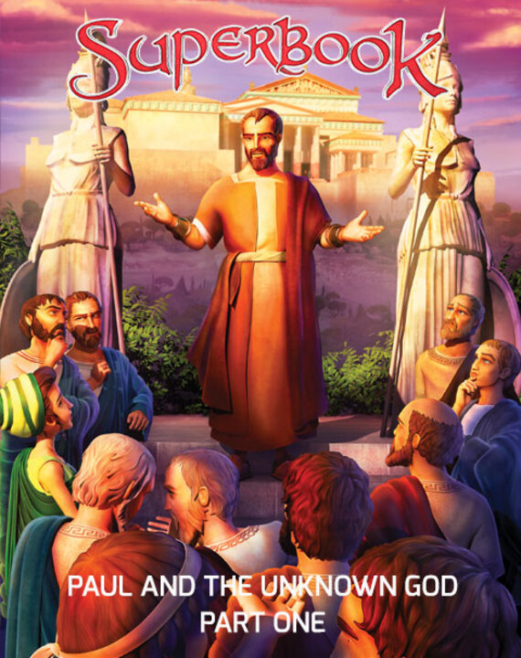 Superbook launches Chris, Joy and Gizmo on a two-part adventure. In Part 1, travel to Athens, where the Apostle Paul challenges people who believe in many gods. The children begin to see how to tell others about the one true God!