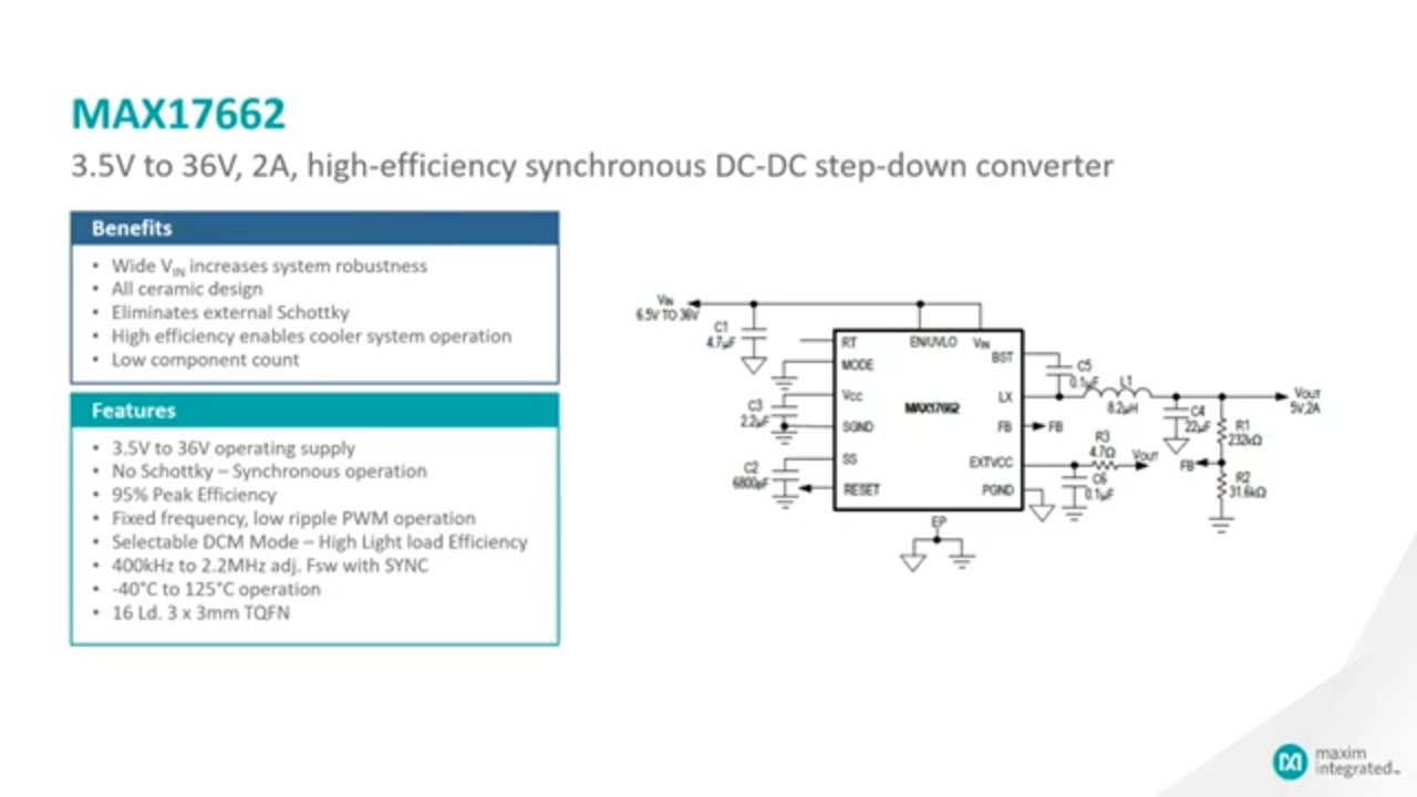 Introduction to the MAX17662 3.5V to 36V, 2A, High-Efficiency, Synchronous Step-Down DC-DC Converter