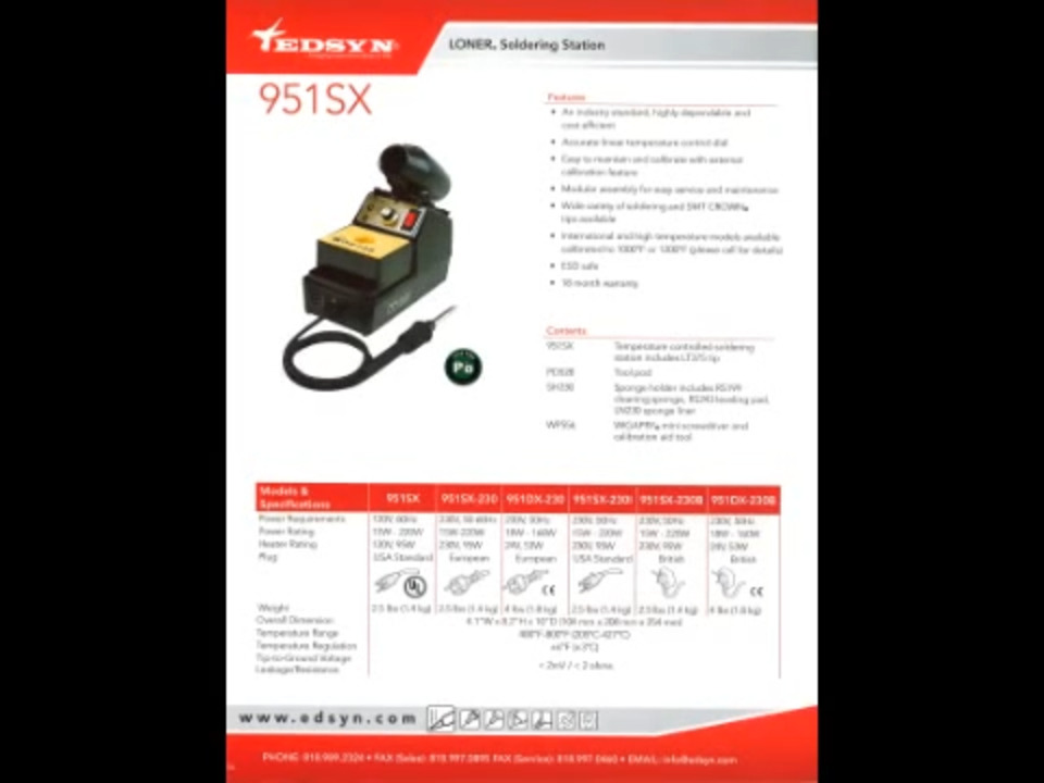 Edsyn's model 951SX Temperature Controlled Soldering Station