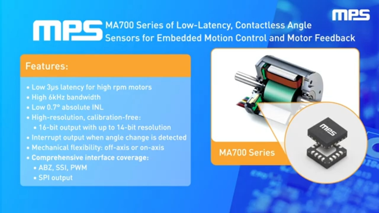 MA700 Series: Low-Latency, Contactless Magnetic Angle Sensors