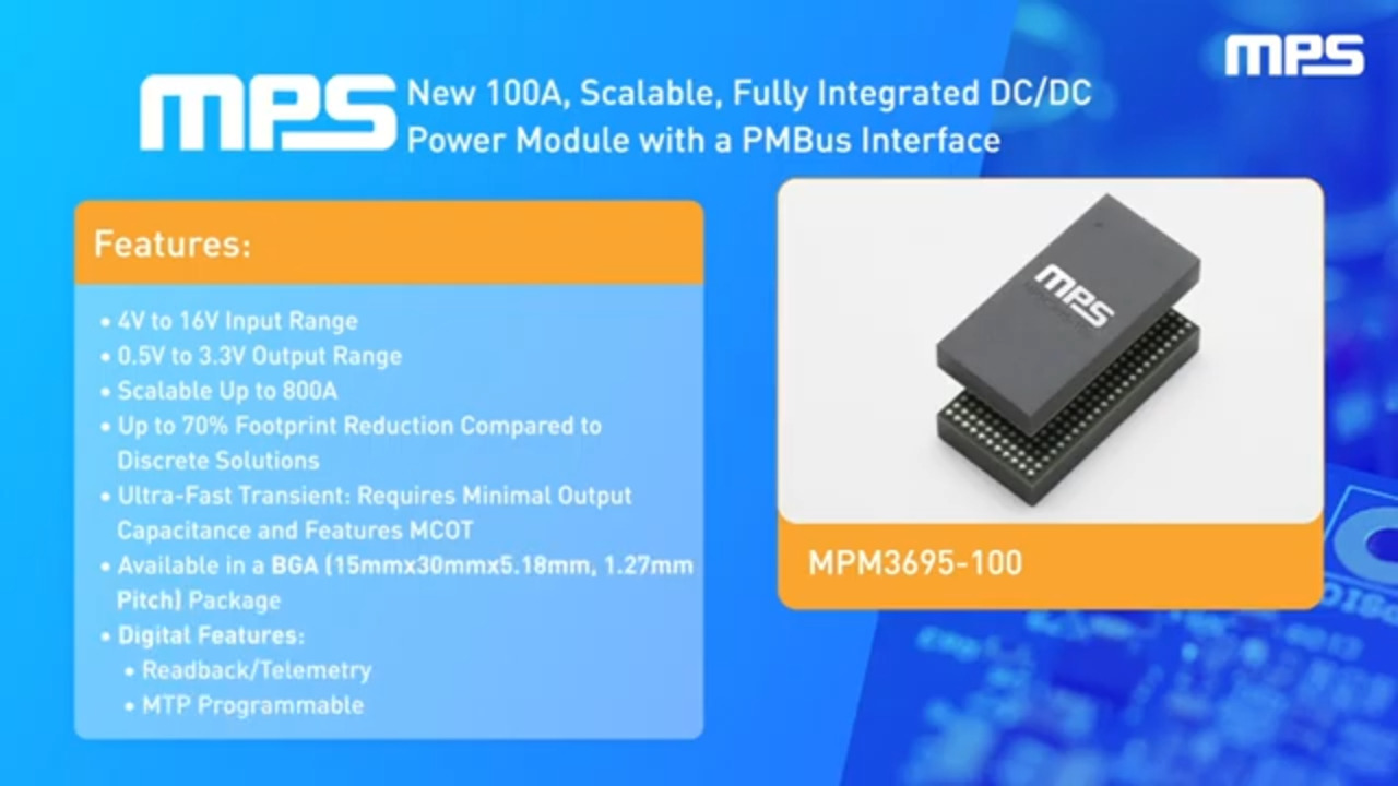 MPM3695-100: 16V, 100A, Scalable, DC/DC Power Module with PMBus