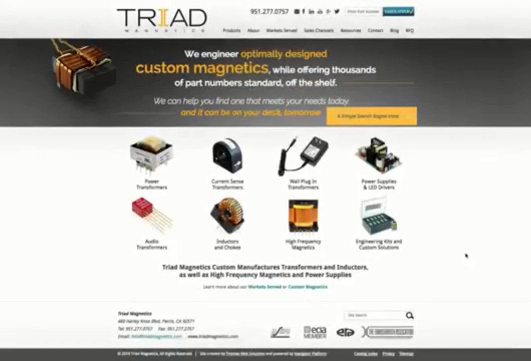 Triad Magnetics Simple Search Tutorial