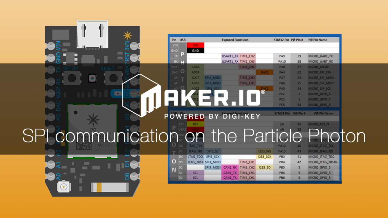 How to use SPI communication on the Particle Photon – Maker.io Tutorial | Digi-Key Electronics