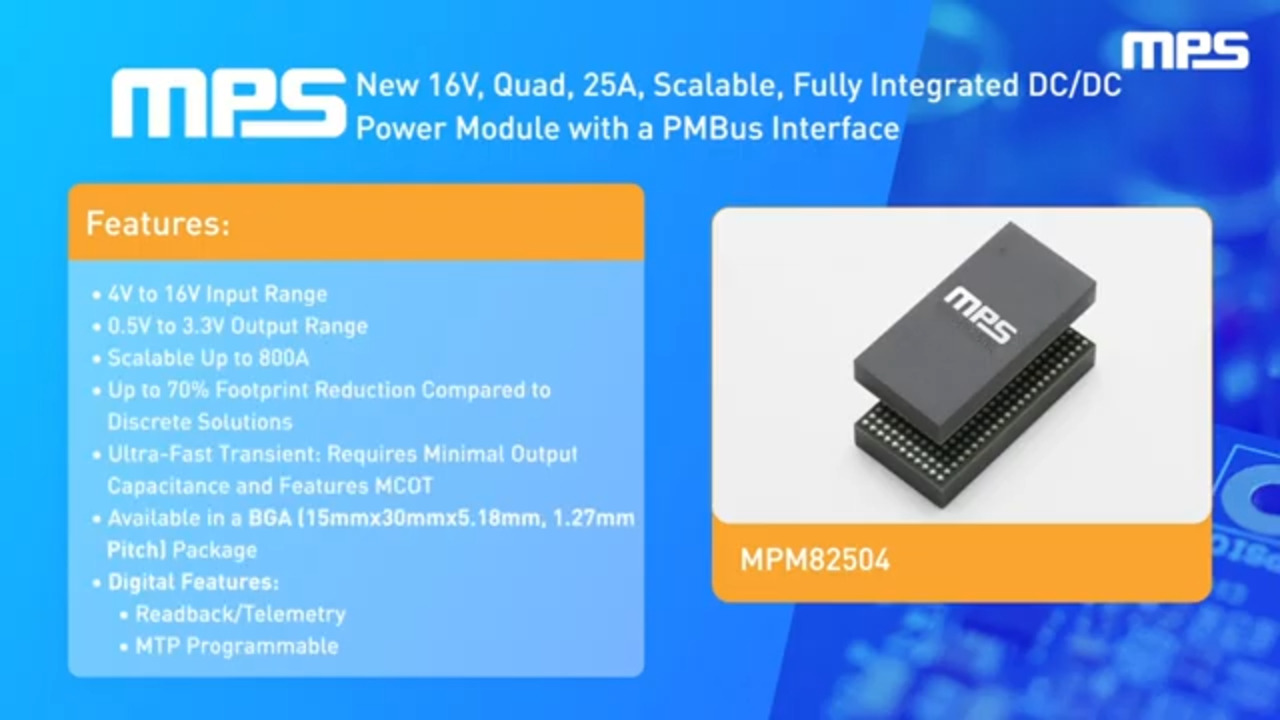 MPM82504: 16V, Quad 25A, Scalable, DC/DC Power Module with PMBus