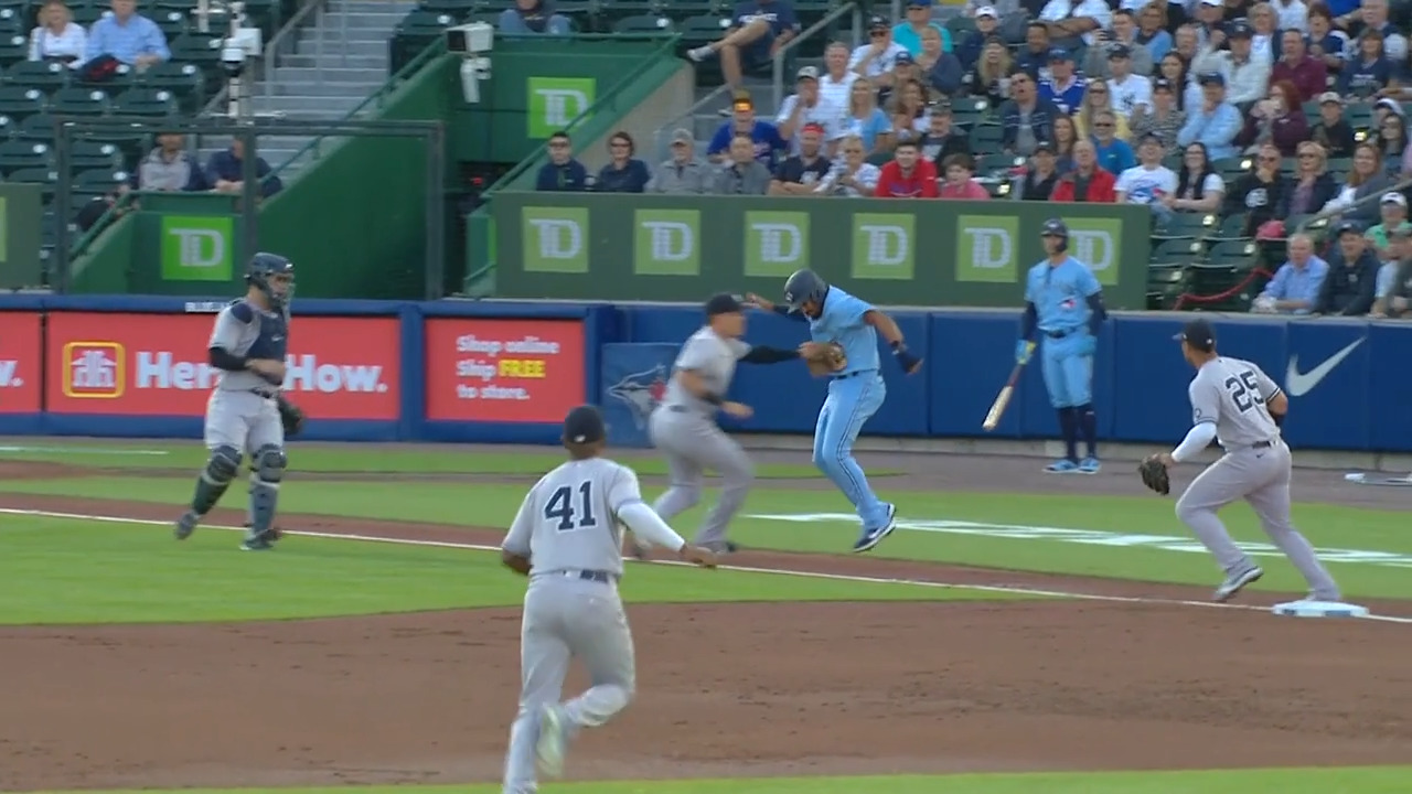 Gotta see it: Yankees complete wild triple play after poor base by Blue Jays