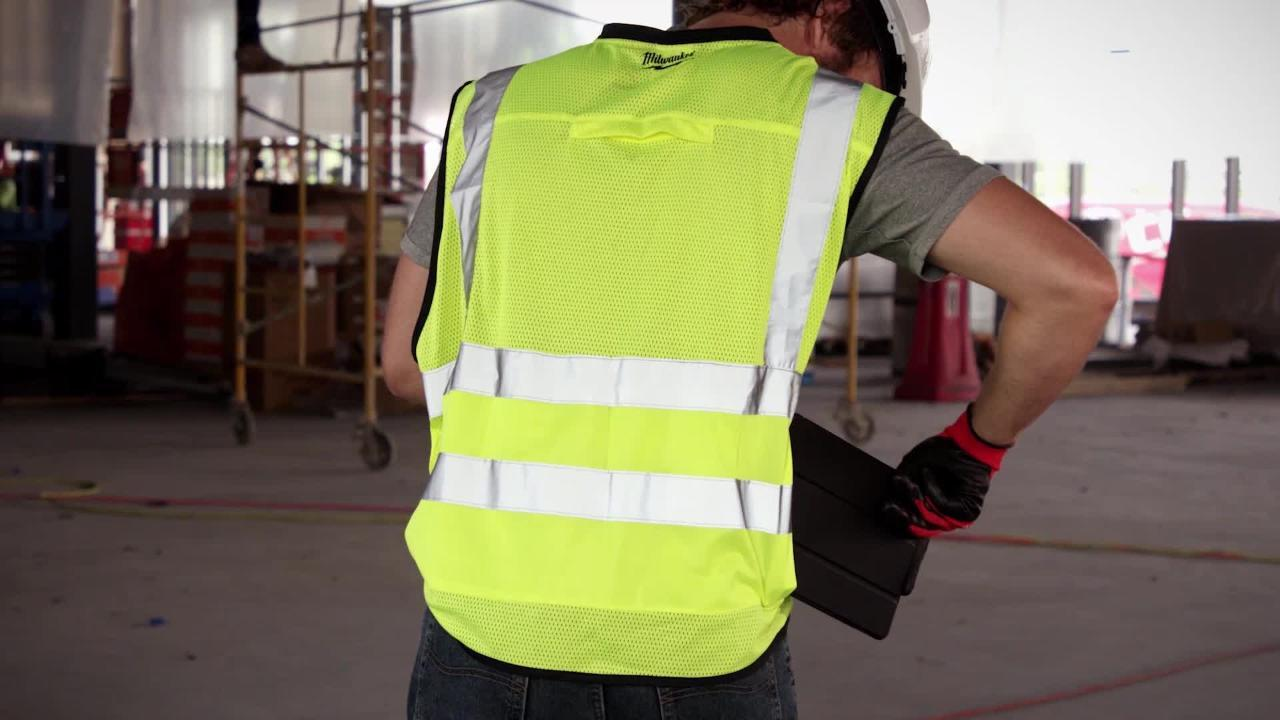 Milwaukee Large X Large Yellow Class 2 High Visibility Safety Vest With 10 Pockets 48 73 5022 The Home Depot