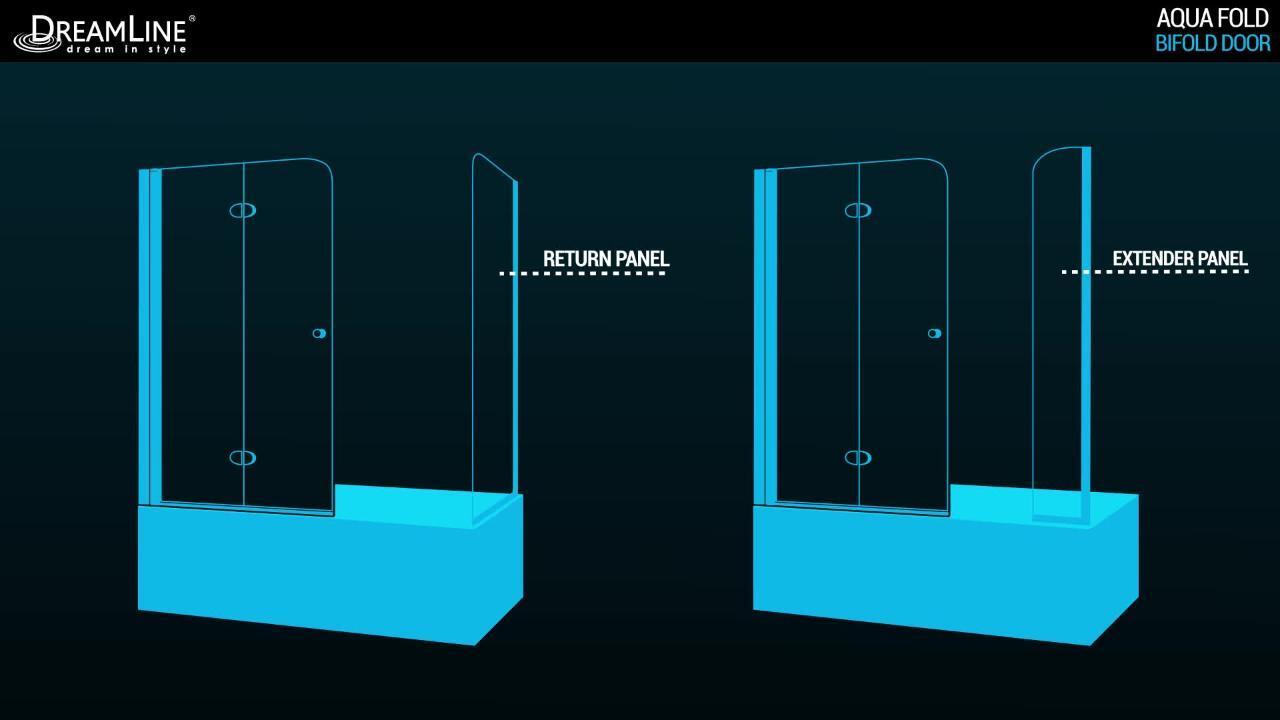 DreamLine Aqua Fold 33 1//2 in W x 72 in SHDR-3634720-01 H Frameless Bi-Fold Shower Door in Chrome